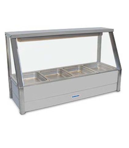 Roband E14 - Straight Glass Hot Food Display Bar - Single Row, 4 Pans Wide