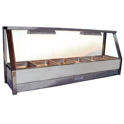 Roband E16 - Straight Glass Hot Food Display Bar - Single Row, 6 Pans Wide
