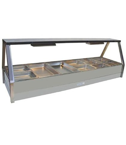 Roband E26 - Straight Glass Hot Food Display Bar - Double Row, 6 Pans Wide