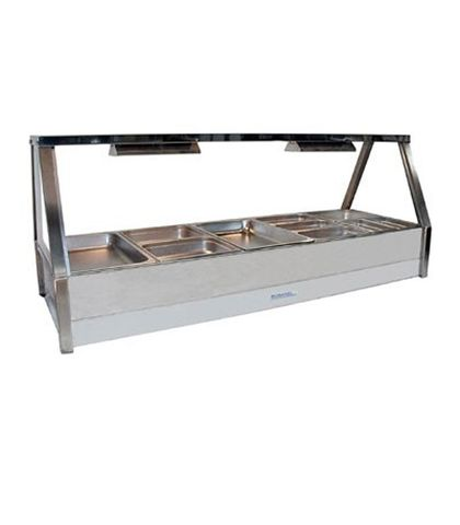 Roband E25 - Straight Glass Hot Food Display Bar - Double Row, 5 Pans Wide