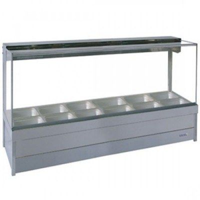 Roband S26 - Square Glass Hot Food Display Bar - Double Row, 6 Pans Wide