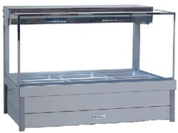 Roband S23 - Square Glass Hot Food Display Bar - Double Row, 3 Pans Wide