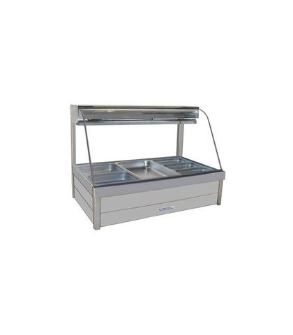 Roband CFX24RD - Curved Glass Refrigerated Food Display Bar (No Motor) - Double Row, 4 Pans Wide