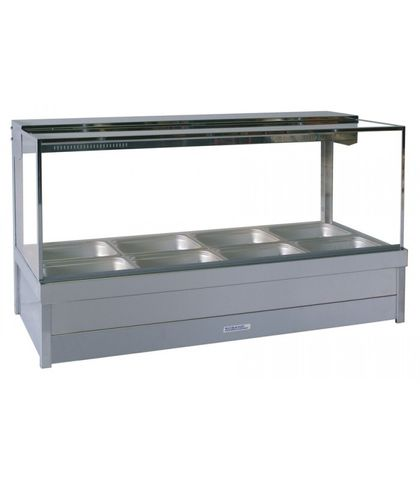Roband SFX24RD - Square Glass Refrigerated Food Display Bar (No Motor) - Double Row, 4 Pans Wide