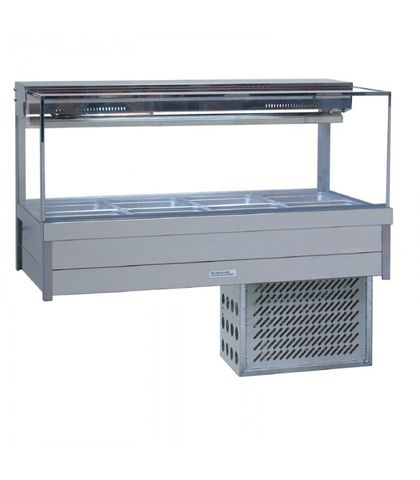 Roband SRX24RD - Square Glass Refrigerated Food Display Bar - Double Row, 4 Pans Wide