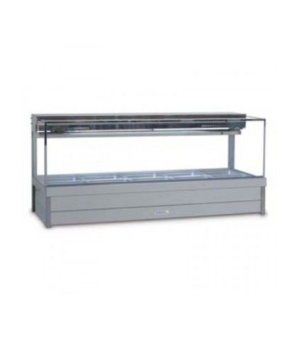 Roband SFX25RD - Square Glass Refrigerated Food Display Bar (No Motor) - Double Row, 5 Pans Wide
