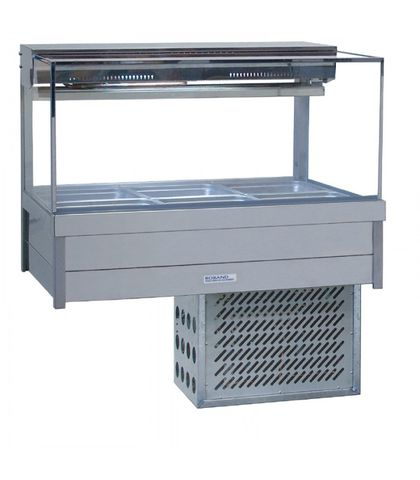 Roband SRX23RD - Square Glass Refrigerated Food Display Bar - Double Row, 3 Pans Wide