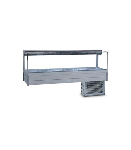 Roband SRX26RD - Square Glass Refrigerated Food Display Bar - Double Row, 6 Pans Wide