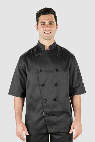 Traditional Chef Jacket Black Short Sleeve