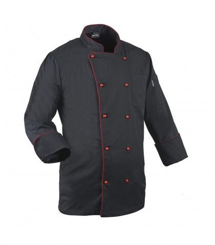 Chef Jacket Black with Red Button