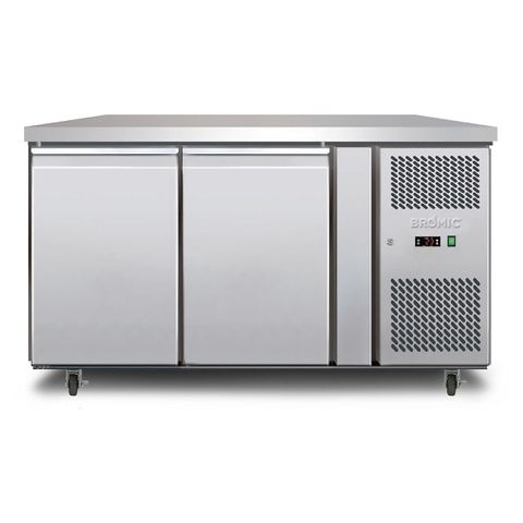 BROMIC Underbench Storage Freezer 282L Doulble Door Stainless Steel
