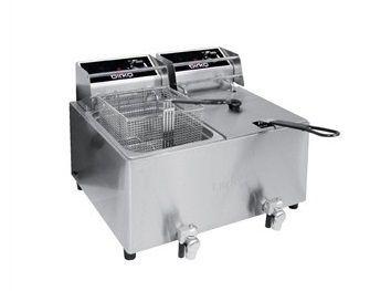 Birko 1001004 - Fryer - Double 8L W/Oil Drain Tap - 2 X 15 Amp