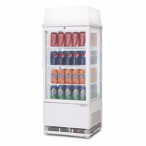 Flat Glass 78L LED with Lightbox Countertop Beverage Chiller