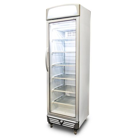 BROMIC LED Flat Glass Door 300L Upright Display Freezer with Lightbox