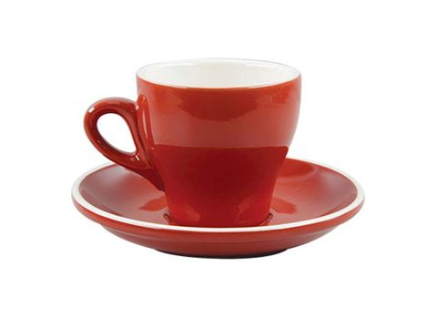 Tulip Long Black Cup/Saucer 175ml ROCKINGHAM Red/White