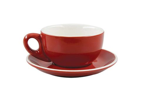 Latte Cup/Saucer 330ml ROCKINGHAM Red/White