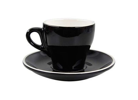 Tulip Long Black Cup/Saucer 175ml ROCKINGHAM Black/White