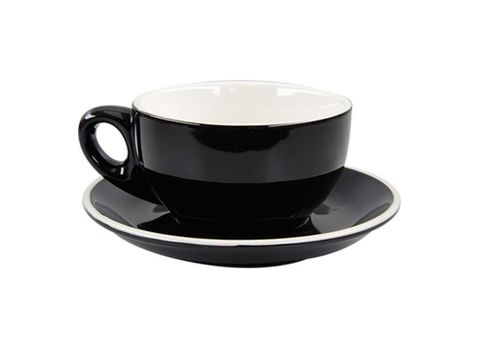 Cappuccino Cup/Saucer 220ml ROCKINGHAM Black/White