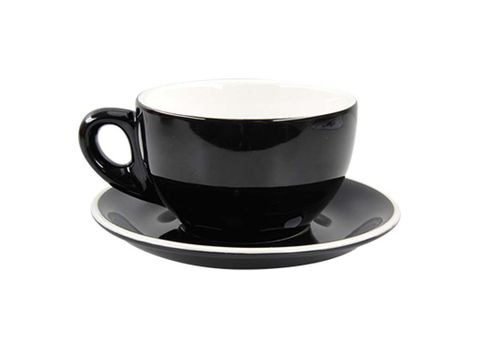 Latte Cup/Saucer 330ml ROCKINGHAM Black/White