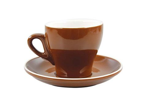 Tulip Long Black Cup/Saucer 175ml ROCKINGHAM Brown/White