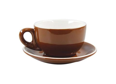 Cappuccino Cup/Saucer 220ml ROCKINGHAM Brown/White