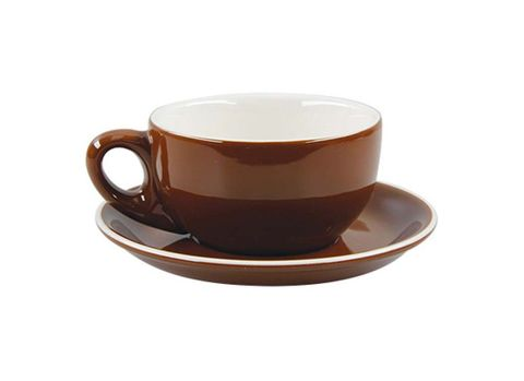Latte Cup/Saucer 330ml ROCKINGHAM Brown/White