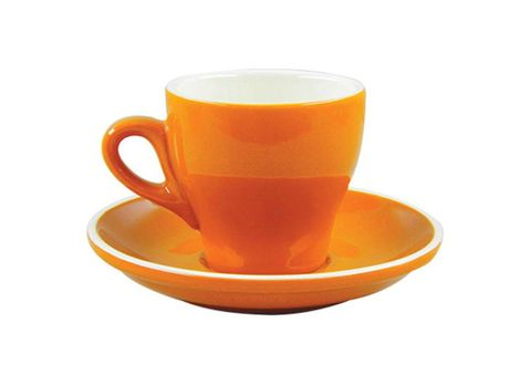 Tulip Long Black Cup/Saucer 175ml ROCKINGHAM Orange/White