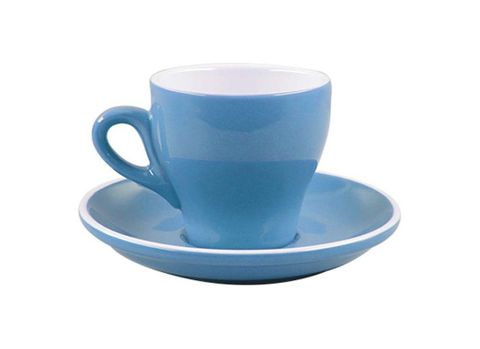 Tulip Long Black Cup/Saucer 175ml ROCKINGHAM Sky Blue/White