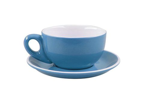 Latte Cup/Saucer 330ml ROCKINGHAM Sky Blue/White