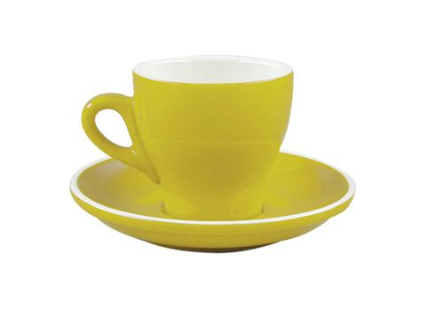 Tulip Long Black Cup/Saucer 175ml ROCKINGHAM Yellow/White