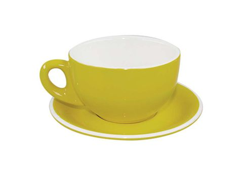 Latte Cup/Saucer 330ml ROCKINGHAM Yellow/White