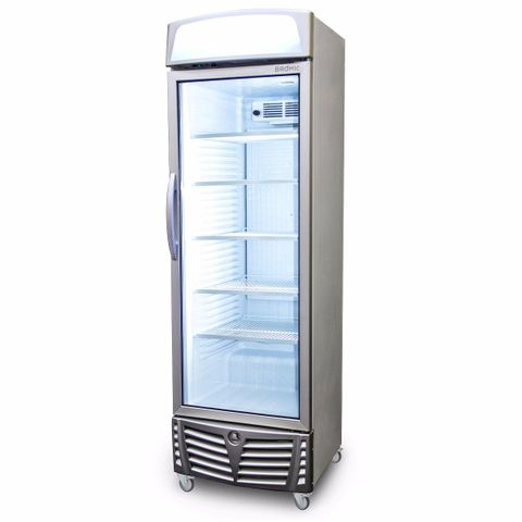 BROMIC LED Flat Glass Door 438L Upright Display Chiller with Lightbox