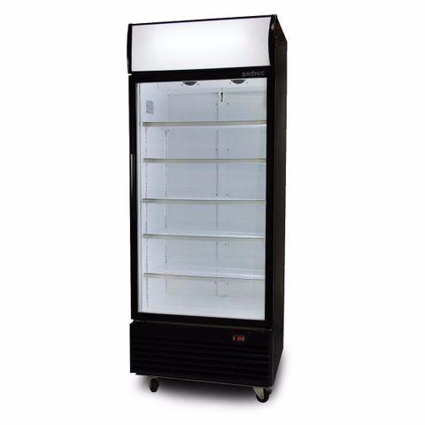 BROMIC LED ECO Flat Glass Door 660L Upright Display Chiller with Lighbox (Black)