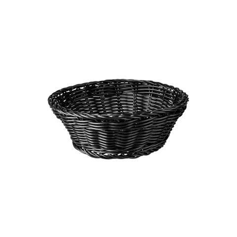 Round Display Basket Black 205mm- Heavy Duty Polypropylene