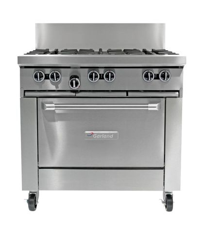 Garland HD Restaurant Series - 6 Open Burners And Convection Oven - Natural Gas (900mm Wide)