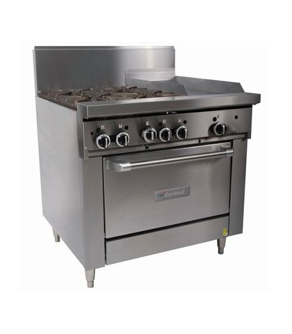 Garland HD Restaurant Series - 4 Open Burners, 300mm Griddle And Oven - Natural Gas (900mm Wide)