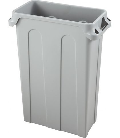 76L Grey Vented Channel Bin with Black Hinged Cover