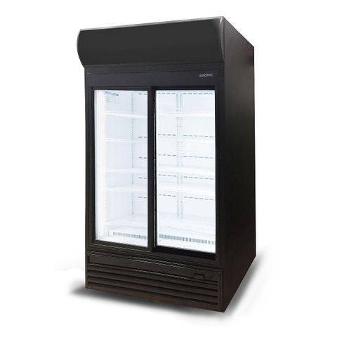BROMIC LED Sliding Glass Door 945L Upright Display Chiller with Lightbox