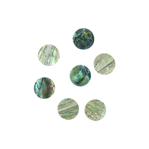 NZ Abalone Paua Shell - Circle - Natural Curve, Ground Back, Tumbled Polished