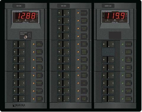 Blue Sea 360 Circuit Breaker Panel,  AC/DC With Meter
