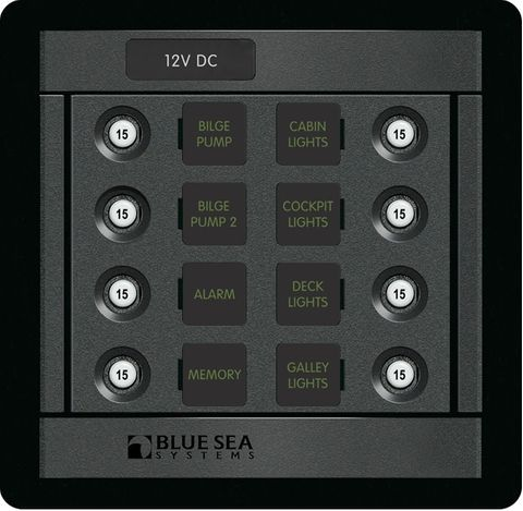 Blue Sea 360 Circuit Breaker Panel with Push Button Circuit Breakers