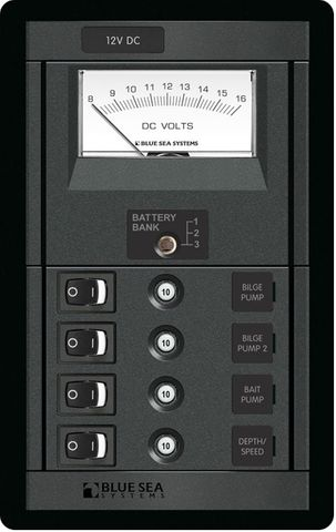 Blue Sea 360 Panel Switch and Circuit Breaker Panel with Voltmeter