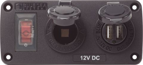 Blue Sea Below Deck Panel USB & 12V Socket With Circuit Breaker
