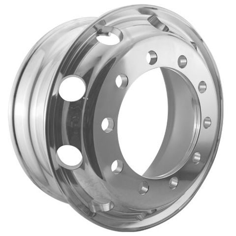 22.5 x 8.25, 10 Stud, 32mm, 335mm PCD, Inner Polished Alloy Wheel