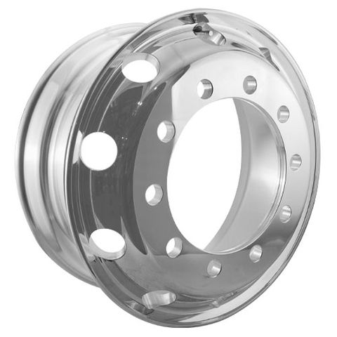 22.5 x 8.25, 10 Stud, 32mm, 335mm PCD, Outer Polished Alloy Wheel