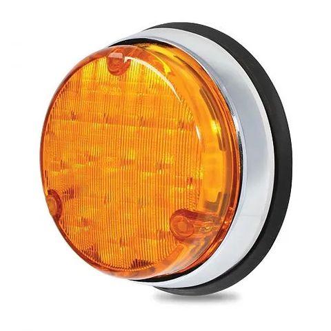 Hella 110mm Round LED Rear Direction Indicator Lamp - Chrome Base