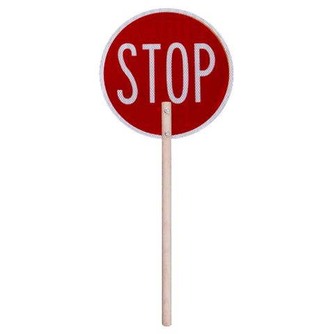 Stop / Slow Sign With Wooden Handle