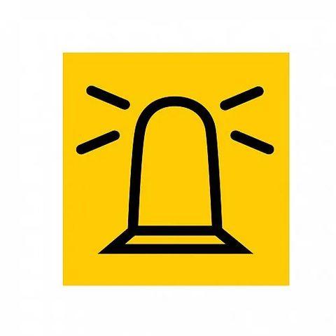 "Hella Symbol Card - Yellow with ""Rotating Beacon"" symbol"