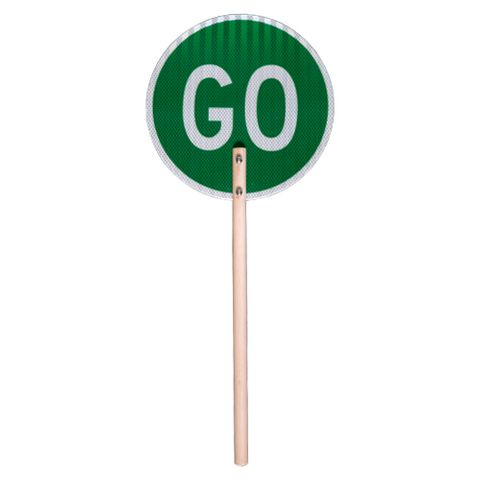 Stop / Go Sign With Wooden Handle