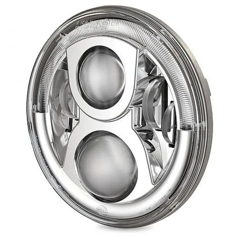 """Hella 7"""" Round LED Headlamp - High/Low Beam with Daytime Running Lamp and Front Position Insert"""